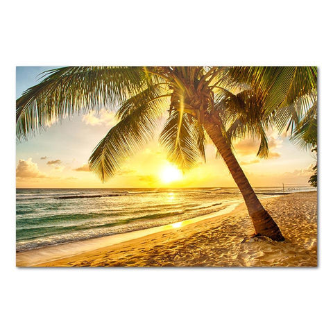 Golden Beach Sunset Canvas Wall Art - OceanHelper