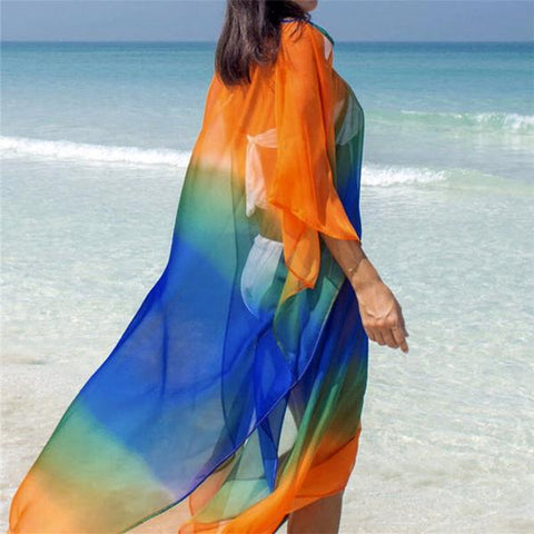 Gradient Rainbow Flowing Beach Cover Up - OceanHelper