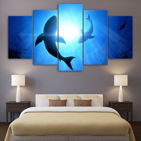 Deep Blue Shark 5 Panel Framed Canvas Wall Art - OceanHelper