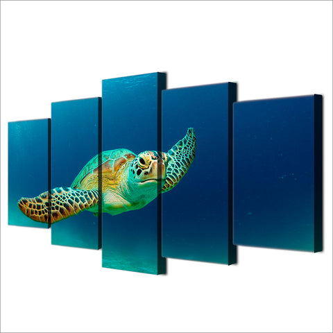 Swimming Turtle 5 Panel Framed Canvas Wall Art - OceanHelper