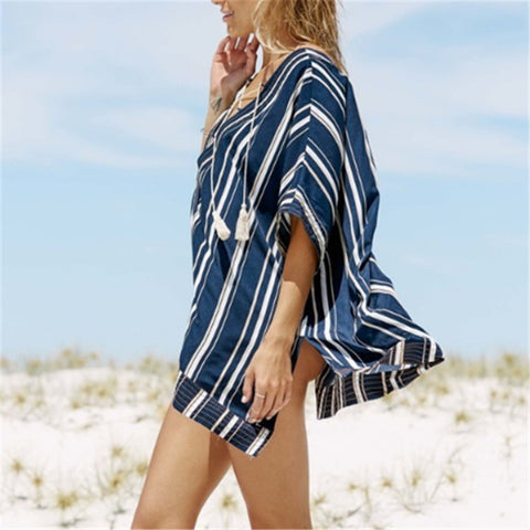 Navy Striped Beach Cover Up - OceanHelper