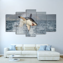 Shark Attack 5 Panel Framed Canvas Wall Art - OceanHelper