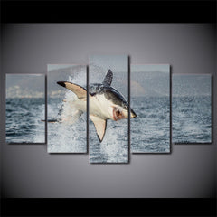Shark Attack Framed Canvas Wall Art