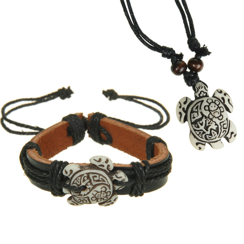 Hand Carved Turtle Bracelet & Necklace Set - OceanHelper