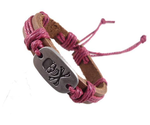 Jolly Roger Leather Pirate Bracelet - OceanHelper