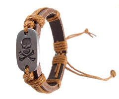 Jolly Roger Leather Pirate Bracelet