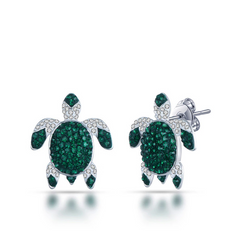 Luxury Green Sea Turtle Stud Earrings - OceanHelper