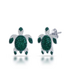 Image of Luxury Green Sea Turtle Stud Earrings - OceanHelper