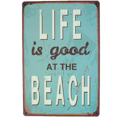 Life is Good at the Beach Metal Sign - OceanHelper