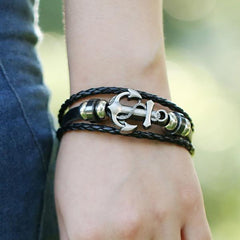 Nautical Leather Anchor Bracelet