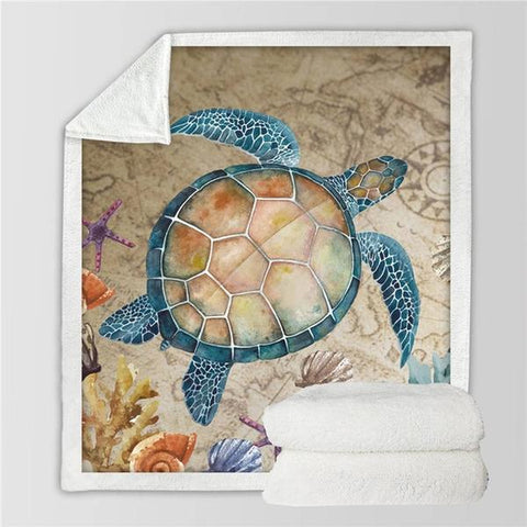 Nautical Sea Turtle Luxuriously Soft Blanket - OceanHelper