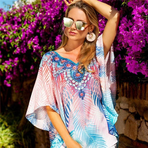 New! Short Bold Tropical Patterned Beach Cover Up