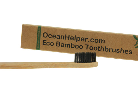 Bamboo Eco Toothbrushes Infused with Charcoal (4 Pack) - OceanHelper