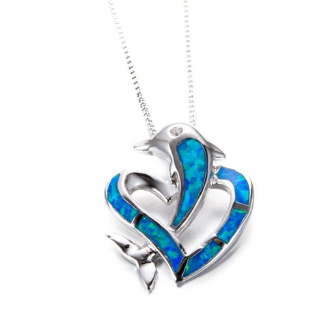 Opal Ocean Dolphin Heart Necklace