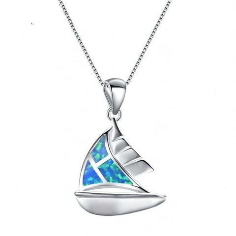 Opal Ocean Sail Boat Necklace - OceanHelper