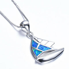 Opal Ocean Sail Boat Necklace