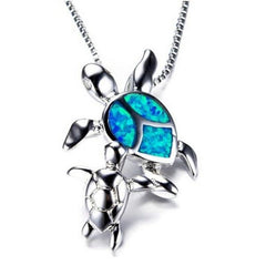 Opal Ocean Sea Turtle Family Necklace - OceanHelper