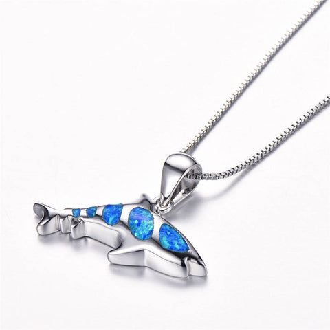 Opal Ocean Shark Necklace