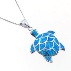 Opal Ocean Turtle Pendant Necklace