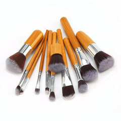 Professional Natural Bamboo Makeup Brushes - 11 Piece Set