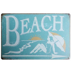 Retro Beach Metal Sign - OceanHelper