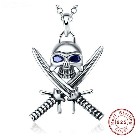Sapphire and Silver Pirate Treasure Necklace - OceanHelper