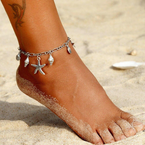 Silver Sea Star Anklets