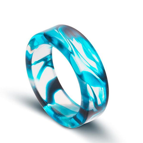 Smooth Ocean Blue Resin Ink Ring - OceanHelper