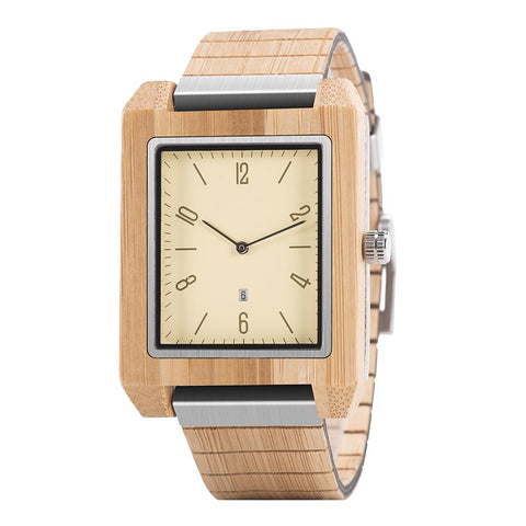Square Face Bamboo Watch