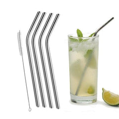 Image of Stainless Steel Drinking Straws & Cleaning Brush