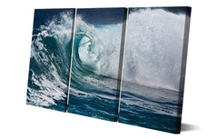 Stormy Wave 3 Panel Framed Canvas Wall Art - OceanHelper