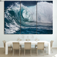 Stormy Wave Framed Canvas Wall Art