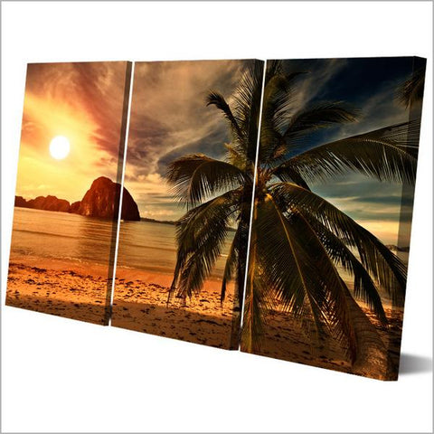 Sunset Beach 3 Panel Framed Canvas Wall Art - OceanHelper