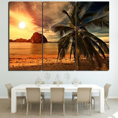 Sunset Beach 3 Panel Framed Canvas Wall Art