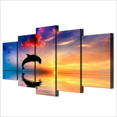 Sunset Dolphin 5 Panel Framed Canvas Wall Art - OceanHelper