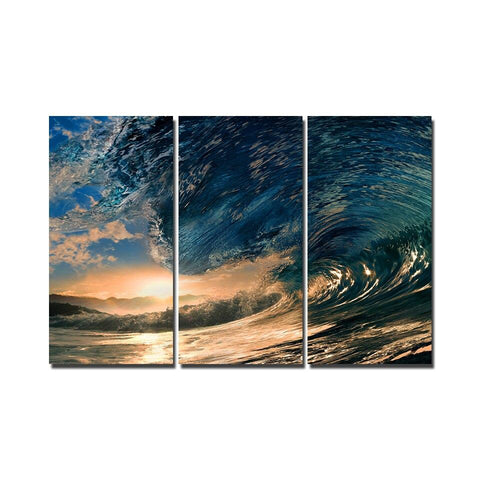 Sunset Surfers Wave 3 Panel Framed Canvas Wall Art - OceanHelper