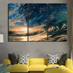 Sunset Surfers Wave Framed Canvas Wall Art