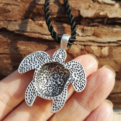 Tribal Silver-Plated Sea Turtle Necklace