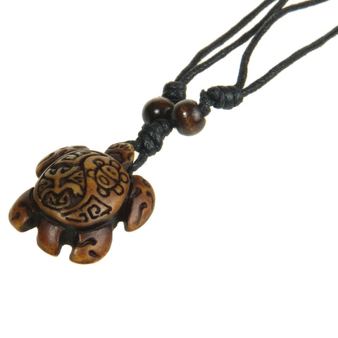 Hand Carved Brown Sea Turtle Necklace - OceanHelper