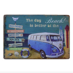 Vintage Blue Summer Van Tin Sign - OceanHelper