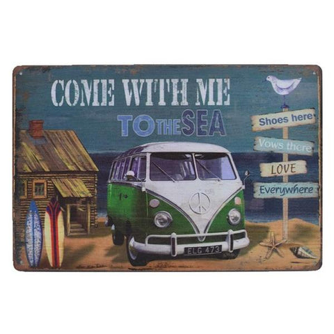 Vintage Green Summer Van Tin Sign