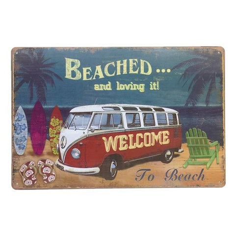 Vintage Red Summer Van Tin Sign