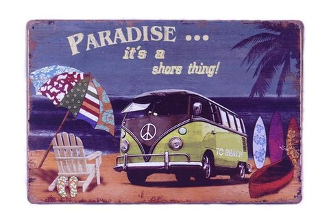 Vintage Yellow Summer Van Tin Sign - OceanHelper