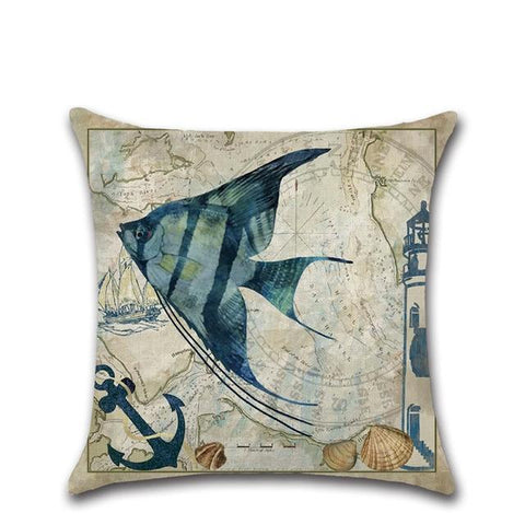 Watercolor Marine Life Cushion Cover