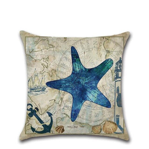 Watercolor Marine Life Cushion Cover - OceanHelper