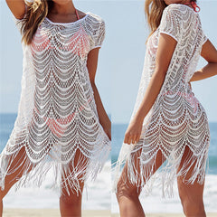White Lace Tassel Beach Cover Ups - OceanHelper