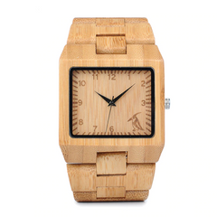 Luxury Rectangle Bamboo Men's Watch