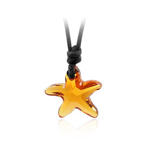 Crystal Starfish Pendant on Rope Necklace - OceanHelper