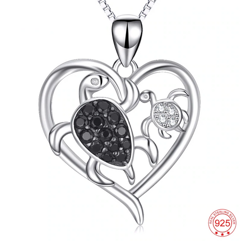 Sea Turtle Love Heart Necklace - OceanHelper