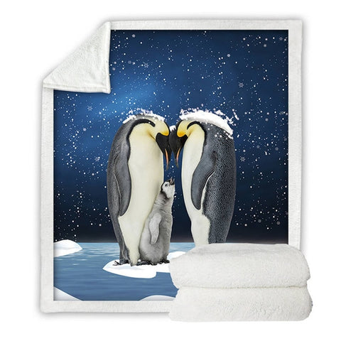 Emperor Penguin Family Blanket